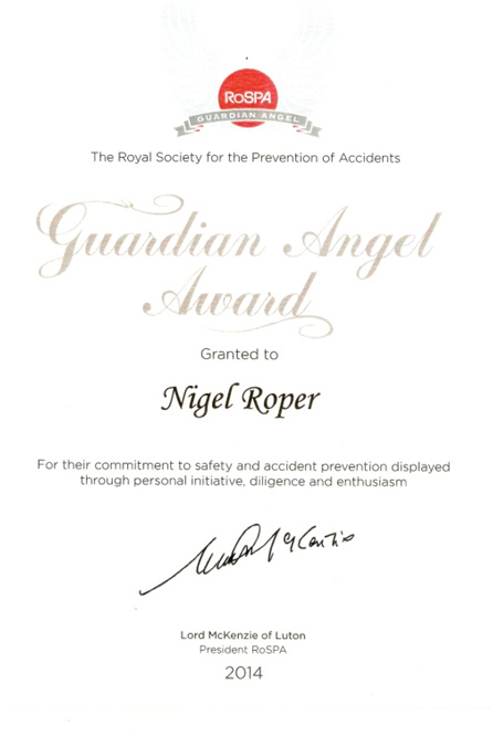 RoSPA Guardian Angel Award